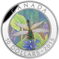 2015 $10 Fine Silver Coin - Dragonfly: Pygmy Snaketail