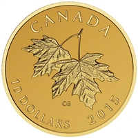 2015 $10 Maple Leaves with Queen Elizabeth II Effigy (1990) - Pure Gold Coin