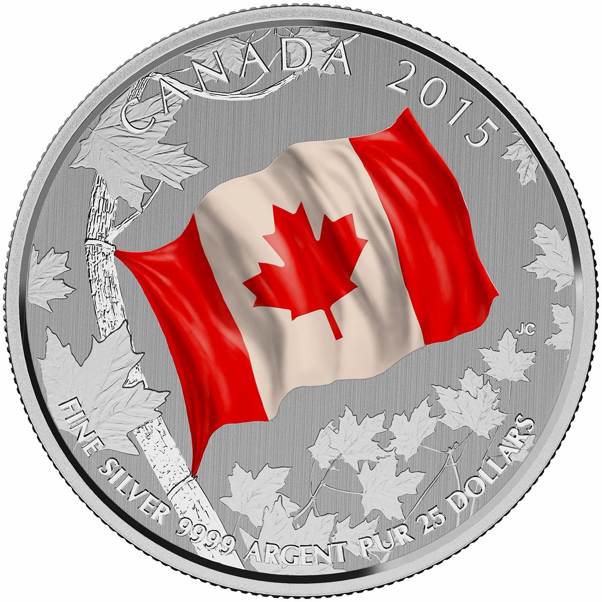2015 25 fine silver coin canadian flag royal canadian mint coins
