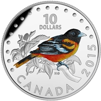 2015 $10 Fine Silver Coin- Colourful Songbirds of Canada: Baltimore Oriole
