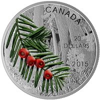 2015 $20 Columbian Yew Tree: Forests of Canada - Pure Silver Coin
