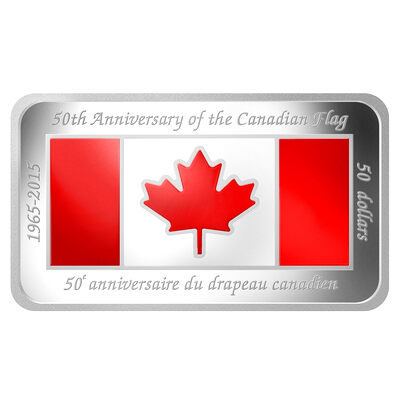 2015 $50 Fine Silver Coin - 50th Anniversary of the Canadian Flag