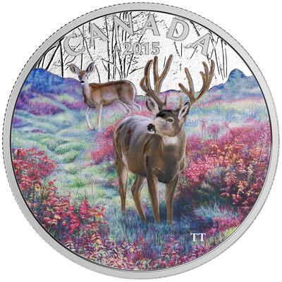 2015 $20 Fine Silver Coin - Misty Morning Mule Deer