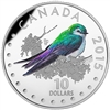 2015 $10 Fine Silver Coin - Colourful Songbirds of Canada: Violet-Green Swallow