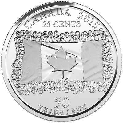 2015 25c Canadian Flag, 50th Anniversary Coin