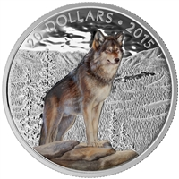 2015 $20 Fine Silver Coin - Imposing Alpha Wolf