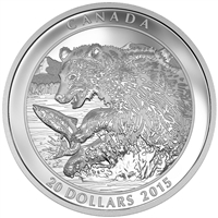 2015 $20 The Catch: Grizzly Bear - Pure Silver Coin