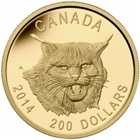 2014 $200 Pure Gold Ultra High Relief Coin - The Fierce Canadian Lynx