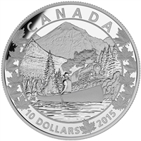 2015 $10 Fine Silver Coin - Canoe Across Canada: Magnificent Mountains