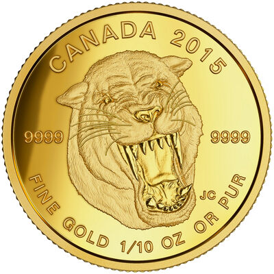 2015 $5 Pure Gold Coin - Prehistoric Animals: American Scimitar Sabre-Tooth Cat