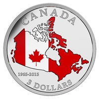 2015 $3 Fine Silver Coin - 50th Anniversary of the Canadian Flag