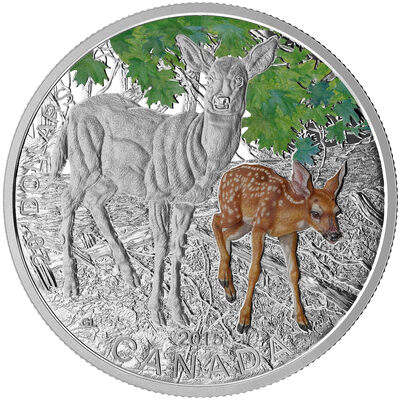 2015 $20 White-Tailed Deer: Baby Animals - Pure Silver Coin
