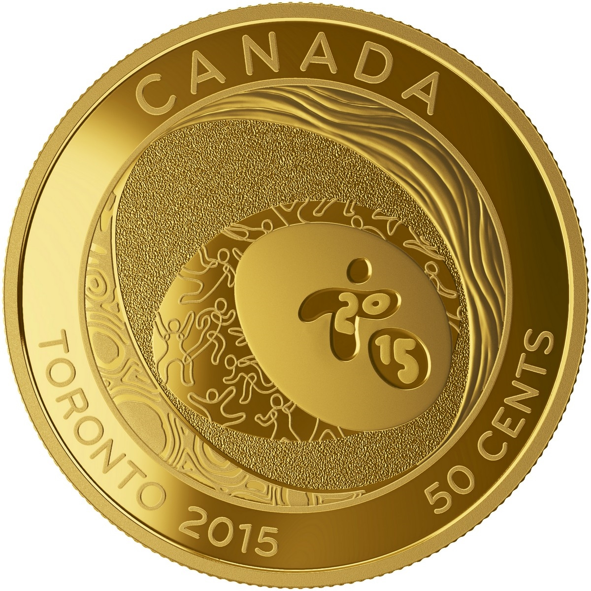 2015 50c gold plated coin toronto 2015 pan am parapan am games