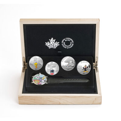 2015 $20 Fine Silver 4-Coin Set with Watch: Looney Toons