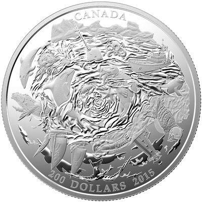 2015 $200 Fine Silver Coin - Coastal Waters of Canada