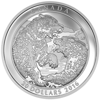 2016 $20 Fine Silver Coin - Grizzly Bear: The Battle