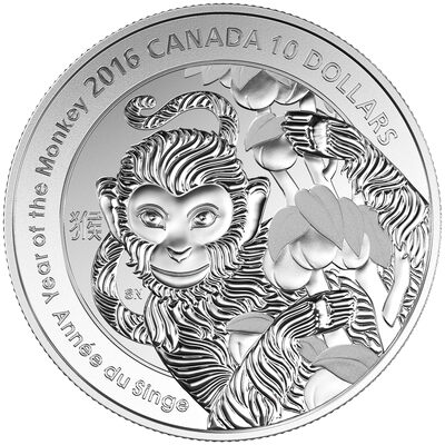 2016 $10 Year of the Monkey - Pure Silver Coin