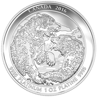 2016 $300 Platinum Coin - Grizzly Bear: The Struggle
