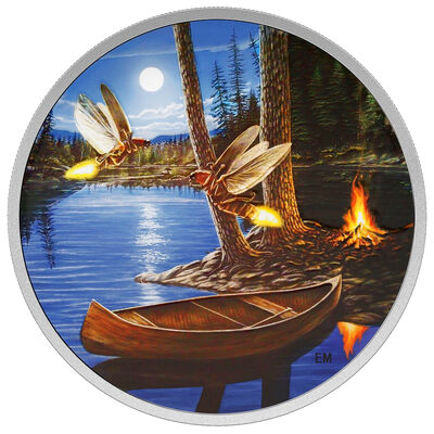 2015 $30 2 oz. Fine Silver Coin - Moonlight Fireflies (Glow-in-the-Dark)