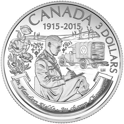 2015 $3 In Flanders Fields, 100th Anniversary - Pure Silver Coin