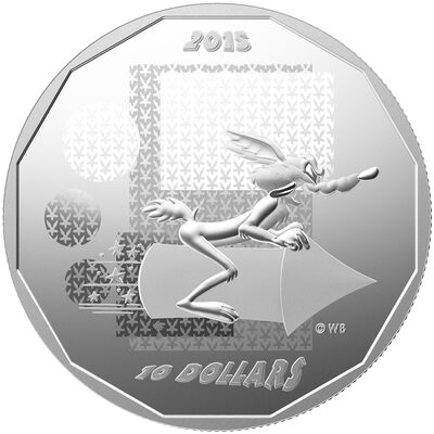 "2015 $10 ""Wile E. Coyote - Super Genius"": Looney Tunes - Pure Silver Coin"