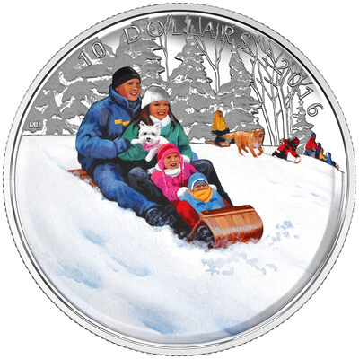 2016 $10 Fine Silver Coin - Winter Fun