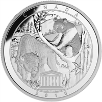 2015 $20 Fine Silver Coin - UNESCO At Home & Abroad: Wood Buffalo National Park and Sichuan Giant Panda Sanctuaries