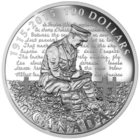 2015 $100 In Flanders Fields, 100th Anniversary - Pure Silver Coin