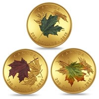 2015 $200 Alluring Maple Leaves of Fall - Pure Gold 3-Coin Set