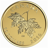 2016 $10 Pure Gold Coin - Maple Leaves with Queen Elizabeth II Effigy
