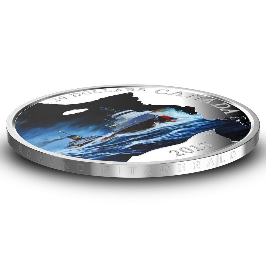 2015 $20 Lost Ships in Canadian Waters: S S  Edmund Fitzgerald - Pure  Silver Coin
