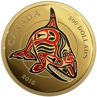 2016 $500 The Orca: Mythical Realms of the Haida - Pure Gold Coin