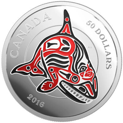 2016 $50 The Orca: Mythical Realms of the Haida - Pure Silver Coin