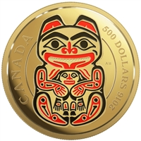 2016 $500 Pure Gold Coin - Mythical Realms of the Haida Series: The Bear