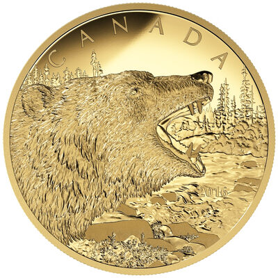 2016 $1250 Pure Gold Coin - Roaring Grizzly Bear
