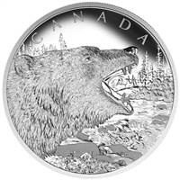 2016 $125 Fine Silver Coin - Roaring Grizzly Bear