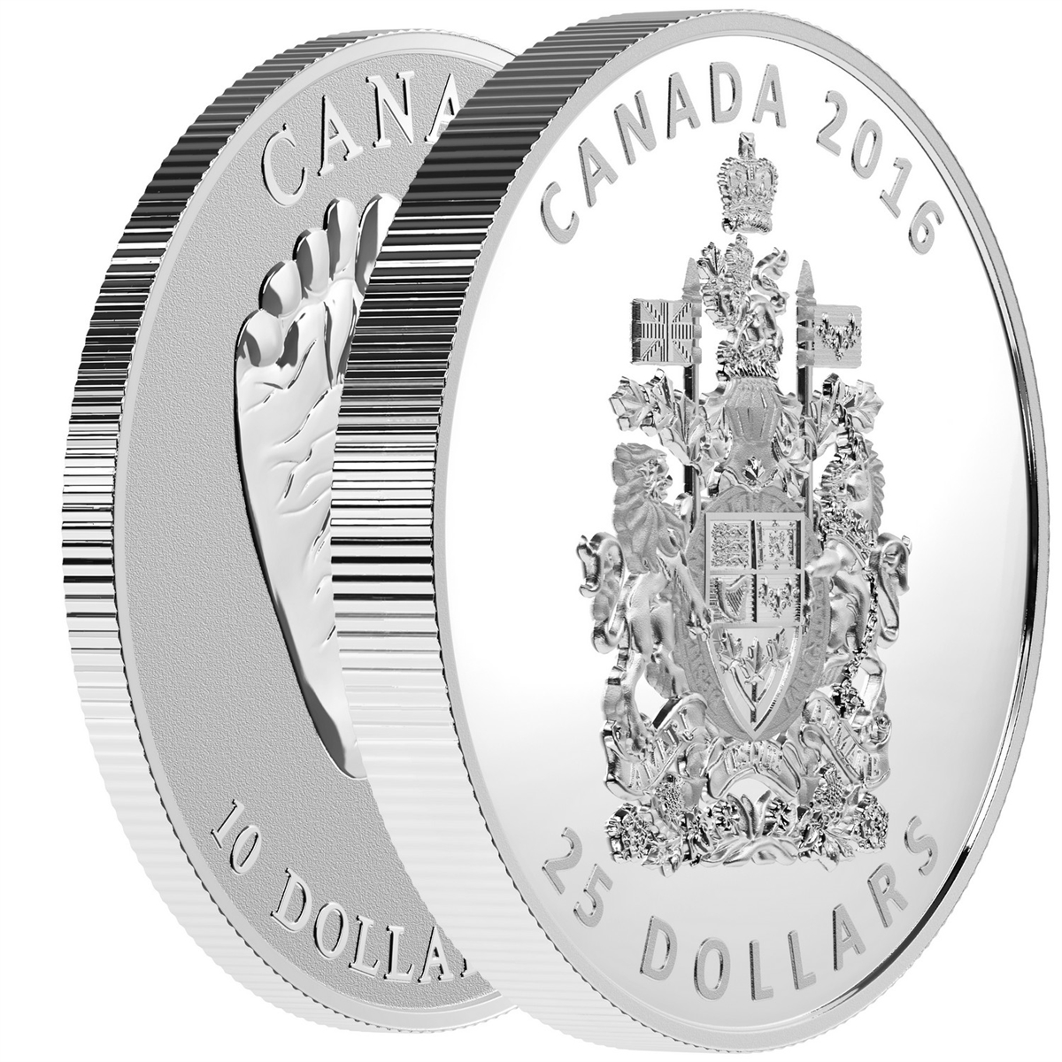 2016 25 fine silver piedfort the coat of arms of canada