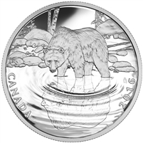 2016 $10 Fine Silver Coin - Reflections of Wildllife - Grizzly Bear