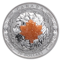 2016 $20 Fine Silver Coin - Majestic Maple Leaves with Drusy Stone