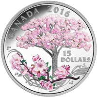 2016 $15 Fine Silver Coin - Cherry Blossoms