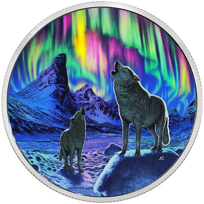 2016 $30 Fine Silver Coin - Northern Lights in the Moonlight