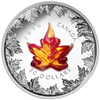 2016 $50 Fine Silver Coin - Murano Maple Leaf: Autumn Radiance