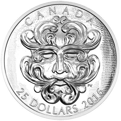 2016 $25 Fine Silver Coin - Sculptural Art of Parliament: Grotesque Foliated Green Man
