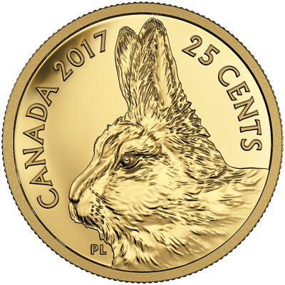 2017 25c Pure Gold Coin - Fox and Hare: Traditional Arctic Hare