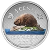 2016 5c Fine Silver Coin - Coloured Big Coin Series - Beaver