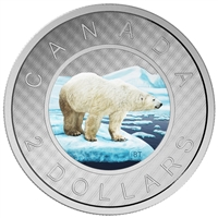 2016 $2 Fine Silver Coin - Coloured Big Coin Series - Polar Bear