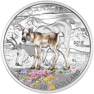 2016 $20 Fine Silver Coin - Baby Animals: Caribou