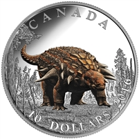 2016 $10 Fine Silver Coin - Day of the Dinosaurs: Armoured Tank
