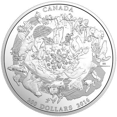 2016 $200 for $200  Canada's Icy Arctic - Pure Silver Coin