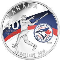 2016 $20 Fine Silver Coin - Celebrating the 40th Season of the Toronto Blue Jays